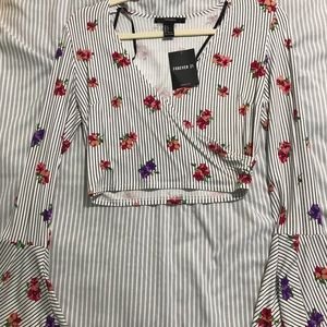 Forever 21 White & Colorful Flower Bell Sleeve Top